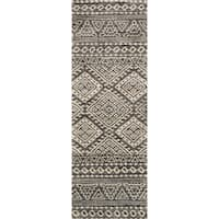 Alexander Home Brently Graphite/Ivory Abstract Runner Rug - 2'5 x 7'10