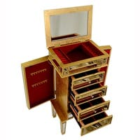 4 Drawer Jewelry Armoire 20 in. x 15 in. x 40 in. in Gold Leaf