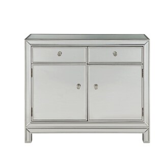 """Nightstand 2 drawers 2 doors 38""""W x 12""""D x 32""""H in antique silver paint"""