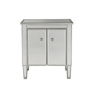 "Nightstand 2 doors 24""W x 16""D x 26""H in antique silver paint"