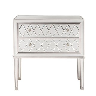 """Nightstand 2 drawers 34""""W x 16""""D x 34""""H in antique silver paint"""