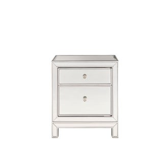 Antique Silver-tone Wood 24-inch x 21-inch x 14-inch 1-door Nightstand