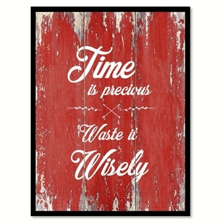 Time Is Precious Inspirational Quote Saying Canvas Print Picture Frame Home Decor Wall Art
