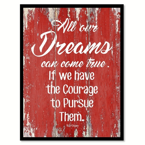 All Our Dreams Can Come True Walt Disney Inspirational Quote Saying Canvas Print Picture Frame Home