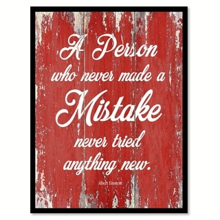 A Person Who Never Made A Mistake Albert Einstein Inspirational Quote Saying Canvas Print Picture Frame Home Decor Wall Art
