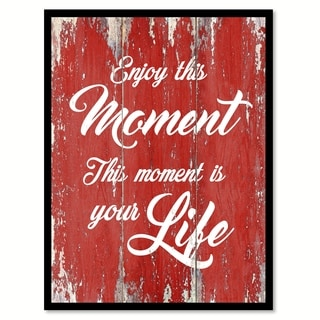 Enjoy This Moment Motivation Quote Saying Canvas Print Picture Frame Home Decor Wall Art