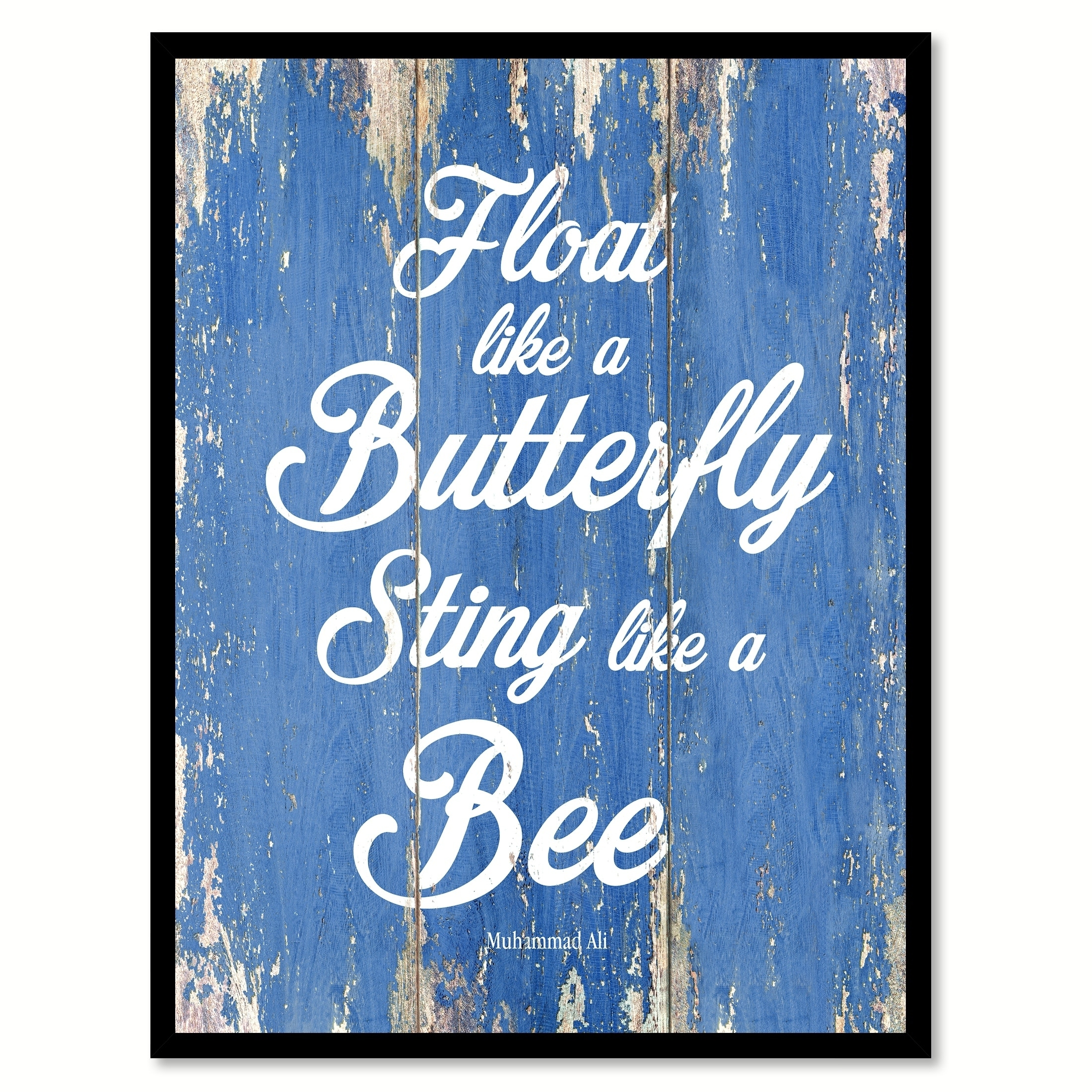 BLACK AND WHITE MUHAMMAD ALI BUTTERFLY QUOTE CANVAS PICTURES WALL ART PRINTS