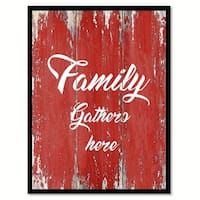 Family Gathers Here Happy Quote Saying Canvas Print Picture Frame Home Decor Wall Art