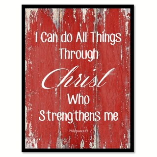 I Can Do All Things Through Christ Philippians 4:13 Quote Saying Canvas Print Picture Frame Home Decor Wall Art