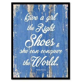 Give A Girl The Right Shoes Marilyn Monroe Motivation Quote Saying Canvas Print Picture Frame Home Decor Wall Art