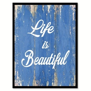 Life Is Beautiful Motivation Quote Saying Canvas Print Picture Frame Home Decor Wall Art