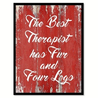 The Best Therapist Has Fur And Four Legs Motivation Quote Saying Canvas Print Picture Frame Home Decor Wall Art