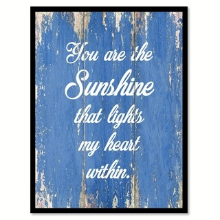 You Are The Sunshine That Lights My Heart Within Motivation Saying Canvas Print Picture Frame Home Decor Wall Art