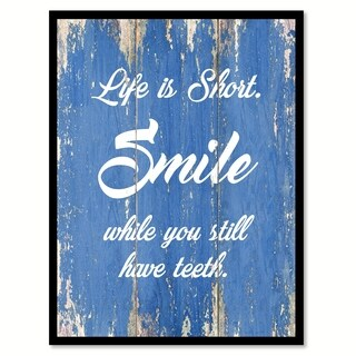 Life Is Short Smile Motivation Quote Saying Canvas Print Picture Frame Home Decor Wall Art