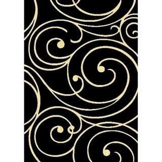 Cambridge Layfayette Black/Off-white Area Rug (5'3 x 7'6)
