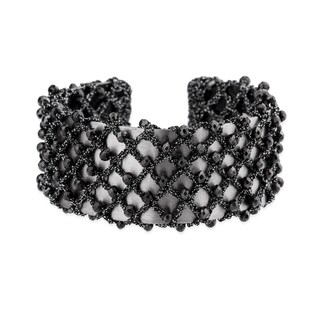 Handmade Saachi Black Crochet Bangle (China)