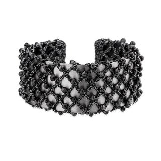 Handmade Saachi Black Crochet Bangle (China)