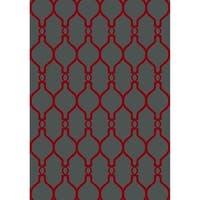 "Cambridge Modern Geo Grey/Red Area Rug - 5'3"" x 7'6"""