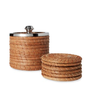 Handmade Set of 6 Woven Individual Coasters with Woven Coaster Holder (Mexico)