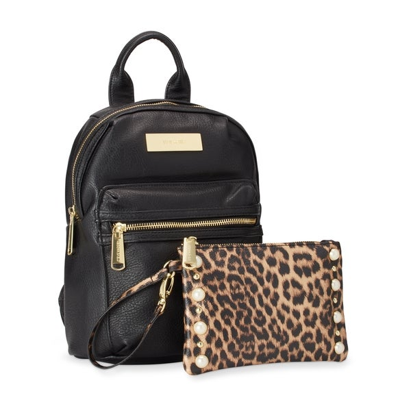 Steve Madden BKris Mini Fashion Backpack w/Leopard Pouch