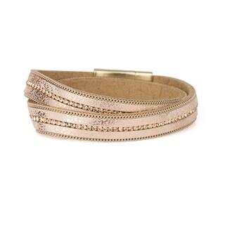 Handmade Saachi Goldtone Leather Wrap Bracelet (China)