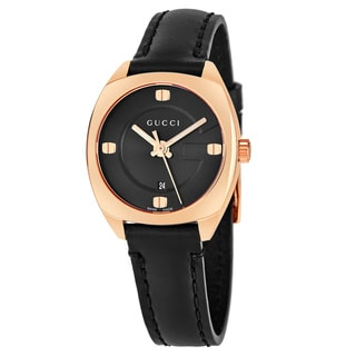 Gucci Women's YA142509 'GG2570' Black Dial Black Leather Strap Swiss Quartz Watcheel Swiss Quartz Watch