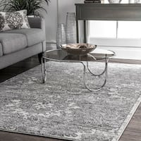 nuLOOM Traditional Vintage Faded Floral Reflection Grey Rug (7'6 x 9'6)