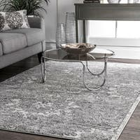 nuLOOM Traditional Vintage Faded Floral Reflection Grey Rug - 7'6 x 9'6