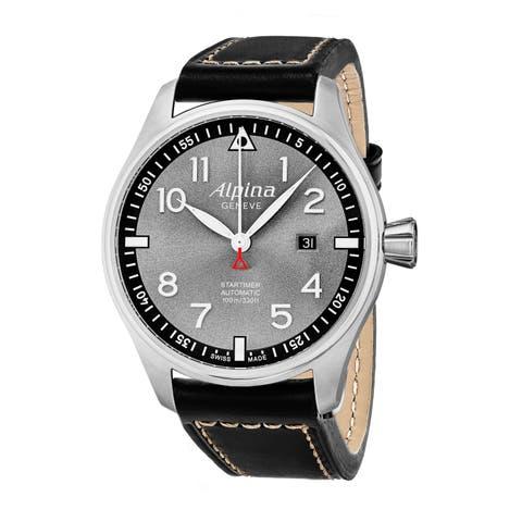 Alpina Men's AL-525GB4S6 'Smartimer Pilot' Grey Dial Black Leather Strap Swiss Automatic Watch