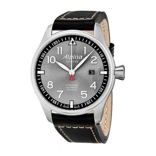 Alpina Men's AL-525GB4S6 'Smartimer Pilot' Grey Dial Black Leather Strap Swiss Automatic Watch