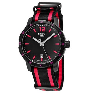 Tissot Women's T095.410.37.057.01'Quickster' Black Dial Black/Pink Fabric Strap Swiss Quartz Watch