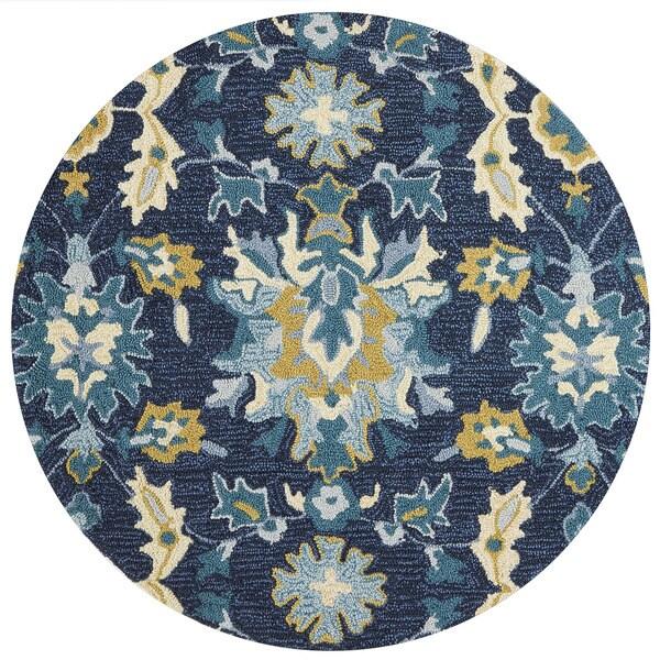 Hand-hooked Charlotte Blue/ Ocean Rug (3' x 3' Round) - 3' x 3' Round