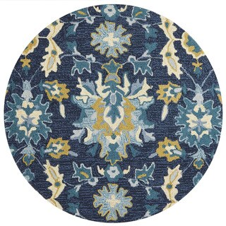Hand-hooked Charlotte Blue/ Ocean Rug (3' x 3' Round)