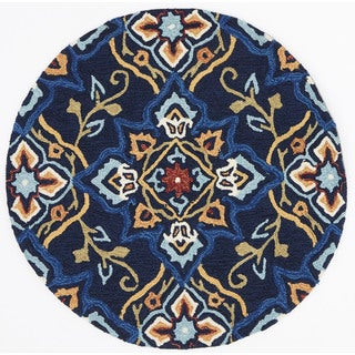Hand-hooked Charlotte Navy/ Multi Rug (3' x 3' Round)