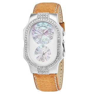 Philip Stein Women's 2DD-FFSMOP-CSTC 'Signature' Mother of Pearl Dial Beige Leather Strap Dual Time Swiss Quartz Watch|https://ak1.ostkcdn.com/images/products/18000795/P24172037.jpg?impolicy=medium
