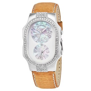 Philip Stein Women's 2DD-FFSMOP-CSTC 'Signature' Mother of Pearl Dial Beige Leather Strap Dual Time Swiss Quartz Watch