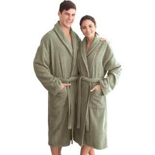 Authentic Hotel and Spa Sage Green with Monogrammed Herringbone Weave Turkish Cotton Unisex Bath Robe Small/ Medium (As Is Item)|https://ak1.ostkcdn.com/images/products/18000820/P91026098.jpg?impolicy=medium