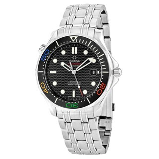 Omega Men's 22.30.41.20.01.001 'SeaMasterRio2016' Black Dial Stainless Steel Swiss Automatic Watch