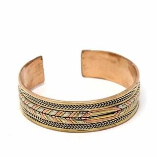 Handmade Copper and Brass Cuff Bracelet: Healing Braid (Nepal)