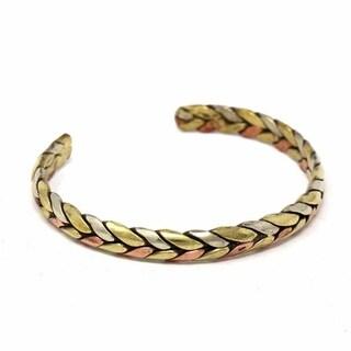 Handmade Copper and Brass Cuff Bracelet: Healing Trinity (Nepal)