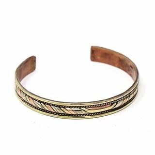 Handmade Copper and Brass Cuff Bracelet: Healing Twist (Nepal)