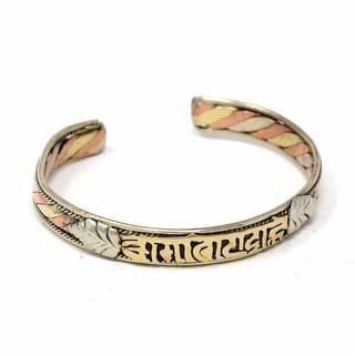 Handmade Copper and Brass Cuff Bracelet: Healing Chant (Nepal)