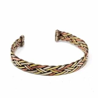 Handmade Copper and Brass Cuff Bracelet: Healing Weave (Nepal)