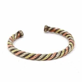Handmade Copper and Brass Cuff Bracelet: Healing Staff (Nepal)