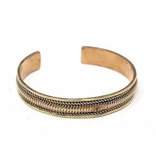 Handmade Copper and Brass Cuff Bracelet: Healing Path (Nepal)
