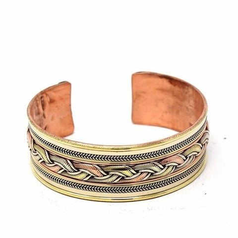 Handmade Copper and Brass Cuff Bracelet: Healing Ribbon (Nepal)