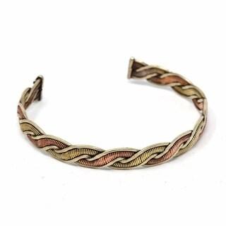 Handmade Copper and Brass Cuff Bracelet: Healing Genie (Nepal)