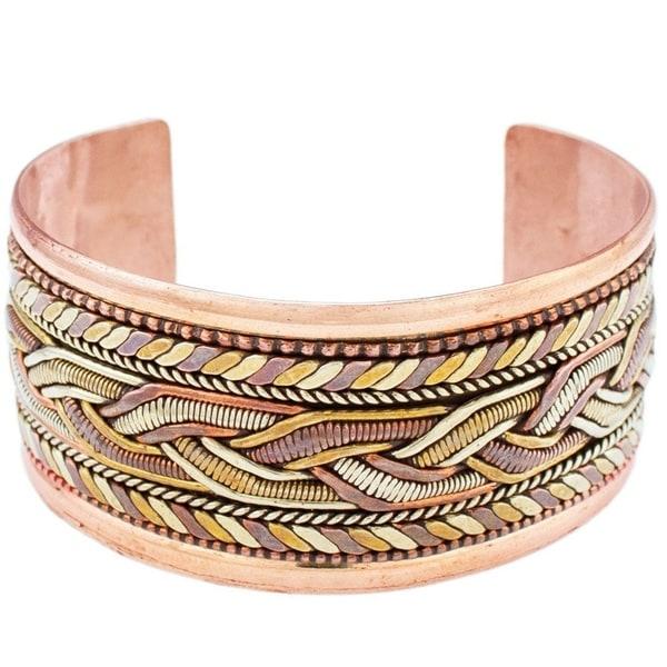 Handmade Copper and Brass Bracelet: Healing Cuff (Nepal)