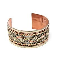 Handmade Copper and Brass Bracelet: Healing Cuff (Nepal)
