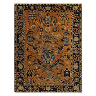 Arshs Kafkaz Peshawar Lavonna Orange/Blue Wool Rug (9'0 x 11'10)